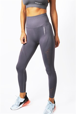 Gymwolves Dikişsiz Spor Tayt | Dark Grey | Seamles Leggings / Motive Serisi