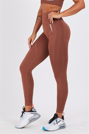 Gymwolves Dikişsiz Spor Tayt |  Brown | Seamles Leggings / Motive Serisi