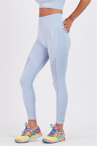 Gymwolves Dikişsiz Spor Tayt | Light Blue | Seamles Leggings / Motive Serisi