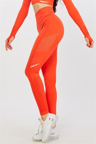 Gymwolves Dikişsiz Spor Tayt | Orange Power | Seamles Leggings / Aktive Power Serisi